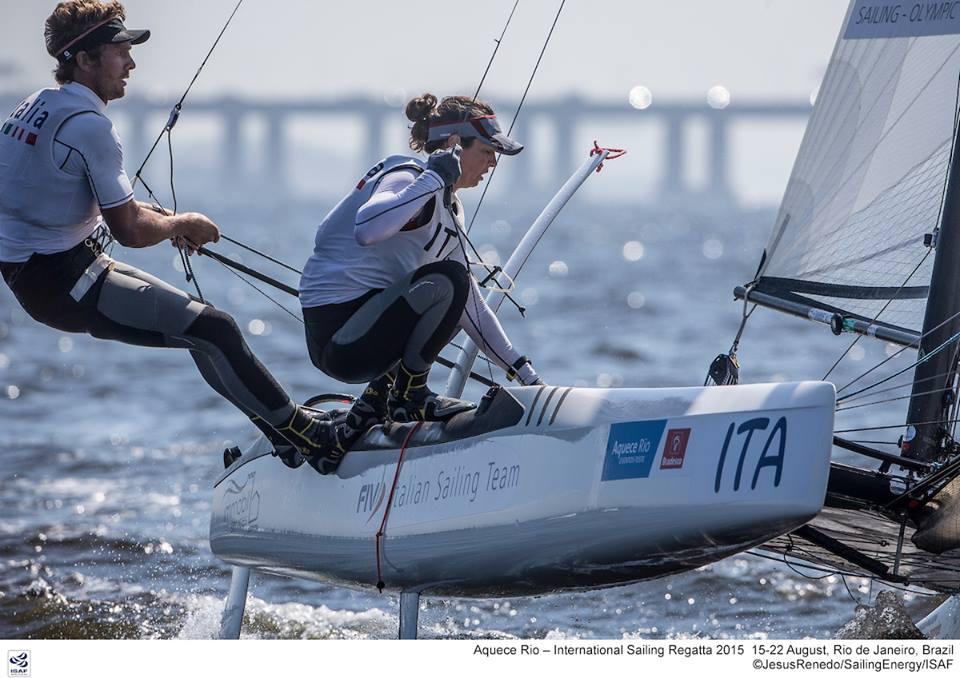 Vittorio Bissaro e Silvia Sicouri in allenameno due giorni fa a Rio. Foto Sailing Energy