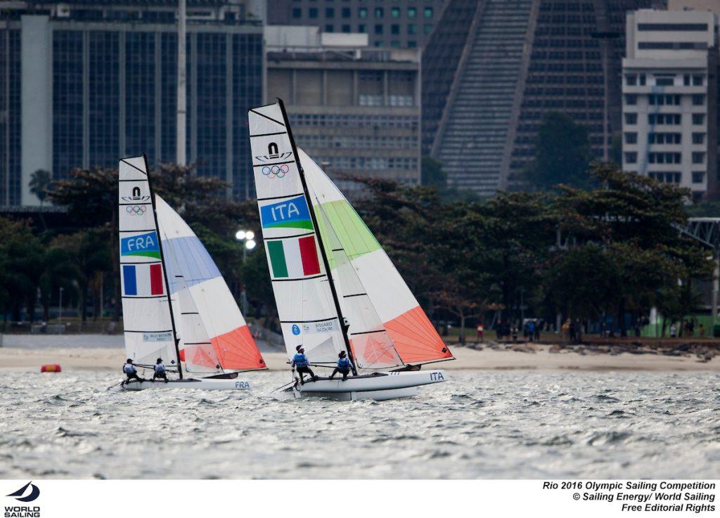 Bissaro-Sicouri durante la medal race dei Nacra. Foto Sailing Energy